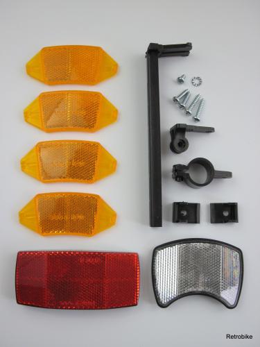 retrobikefranken fahrrad reflektoren set katzenaugen. Black Bedroom Furniture Sets. Home Design Ideas